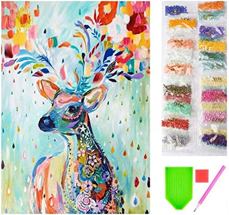 DIY 5D Diamond Painting Fawn Kit Full Drill Mosaic Round Kits Embroidery Picture