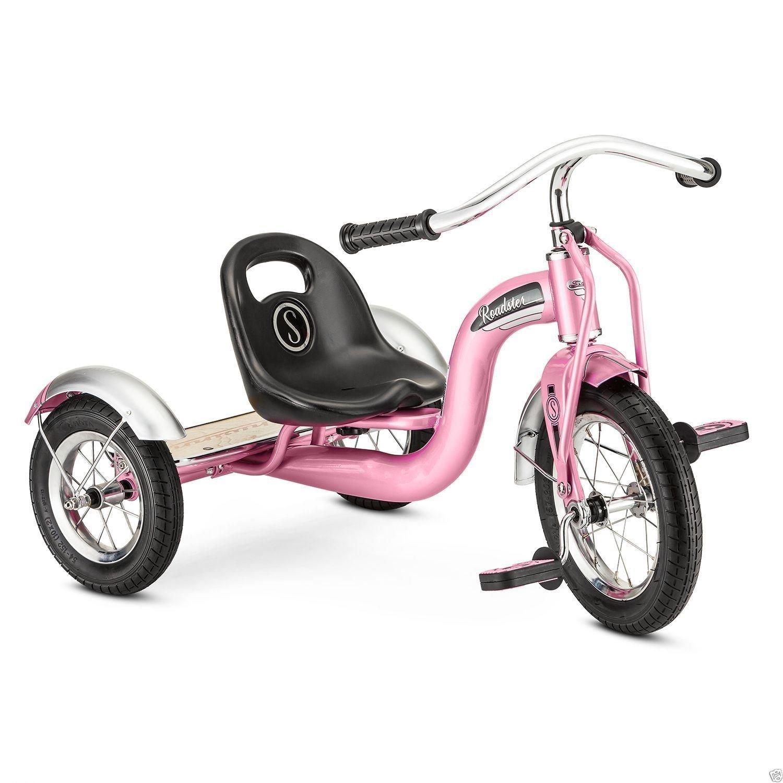 New 12'' Pink Retro Tricycle Schwinn Roadster Kids Trike Vintage