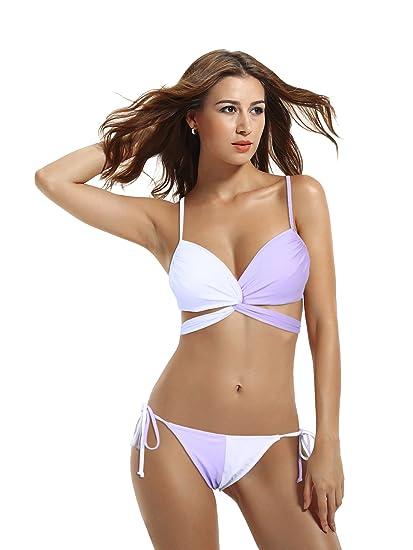 8f44b0b996 zeraca Women s Wrap Halter Criss Cross Bikini Bathing Suits  Amazon.co.uk   Clothing