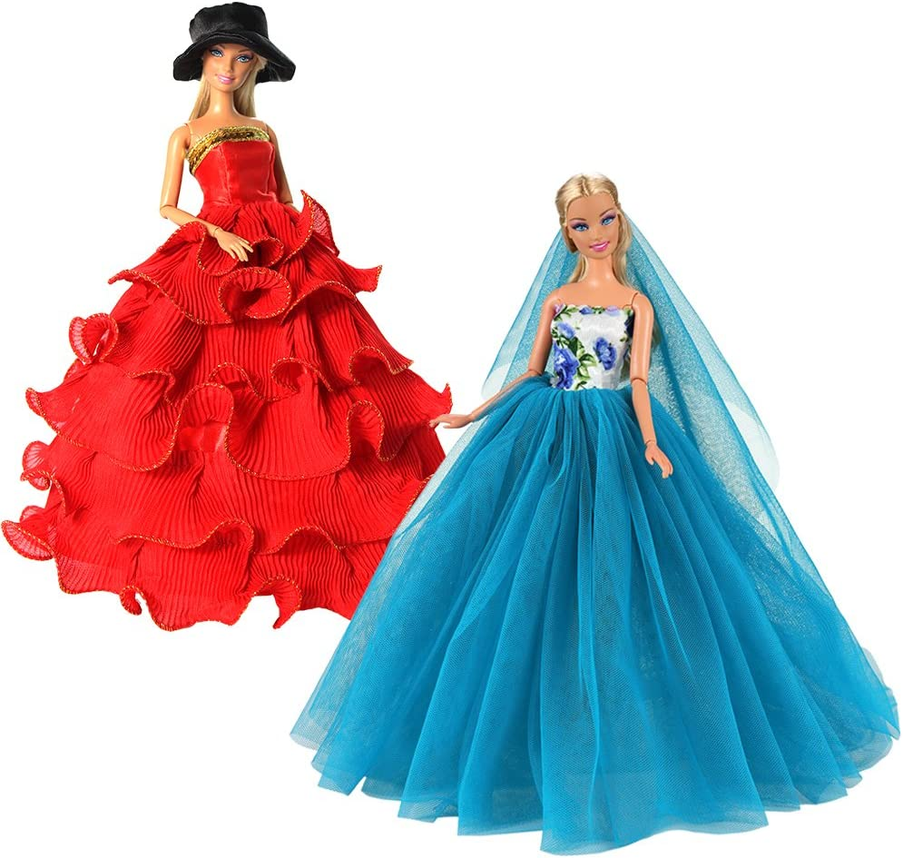 BARWA 2 Pcs Doll Dress Red Gown Dress