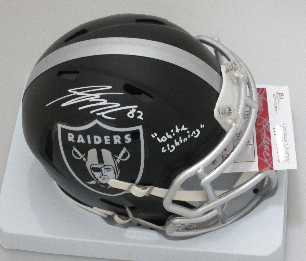 Autographed Raiders Jordy Nelson Signed Blaze Mini Helmet White Lightning Signature- JSA Certified