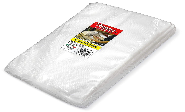 Reber 6735 N Sacchetti Goffrati per Sottovuoto, 30x40 cm, 105 Micron, Anti-UV, 100 Pezzi, Trasparente 6735N