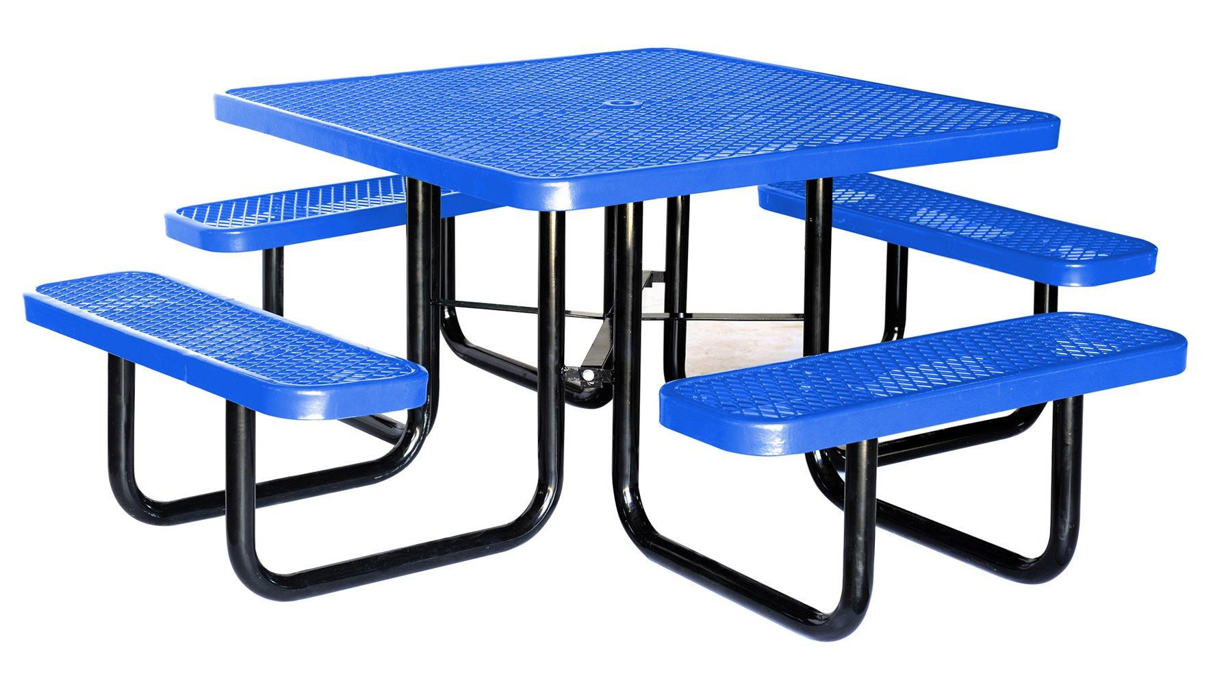 Lifeyard 46'' Expanded Metal Square Picnic Table, Blue!