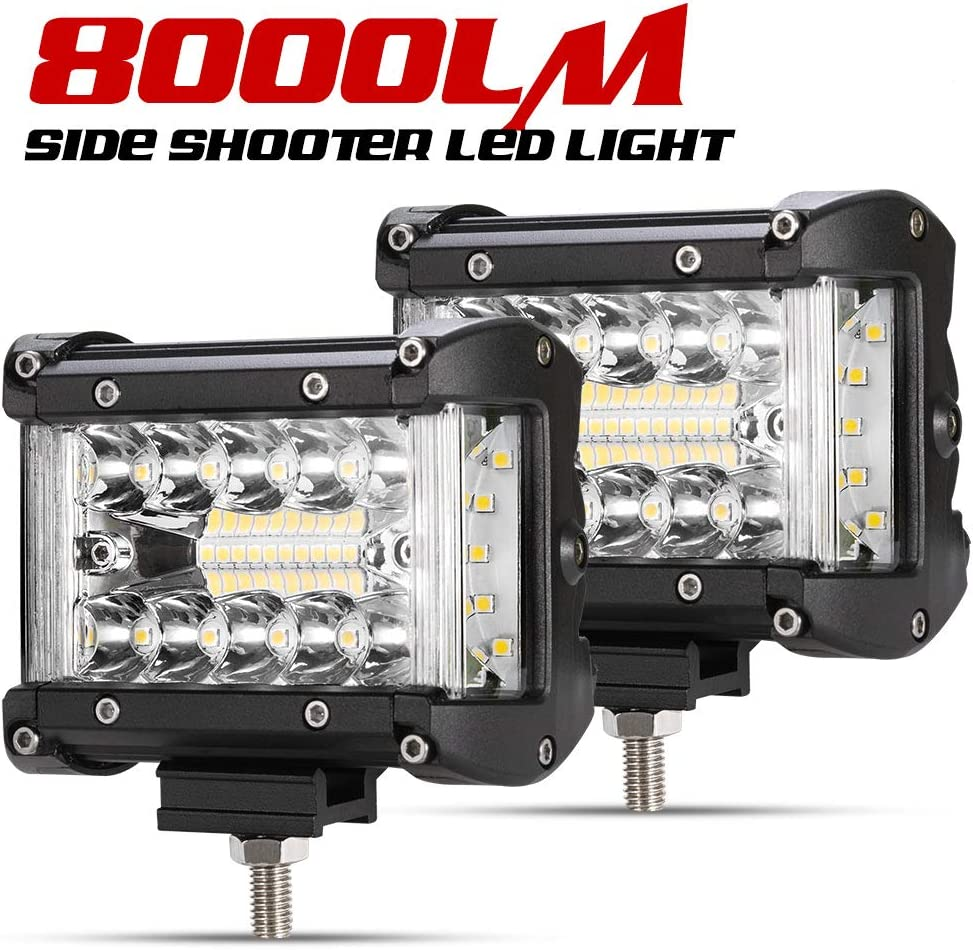 "2PCS 4/""INCH Work Cube Side Shooter LED Light Bar Spot Flood Driving Fog Pod 4WD"