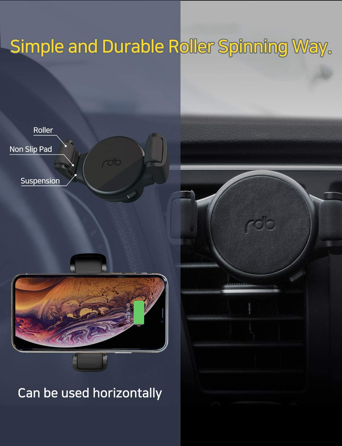 Samsung Galaxy S10 S9 S8 Plus REDBEAN Wireless Car Charger 10W Qi Fast Charging Adjustable Roller Mount Dashboard Windshield Air Vent Holder Compatible with iPhone 11Pro Max Xs MAX XS XR X 8 Plus