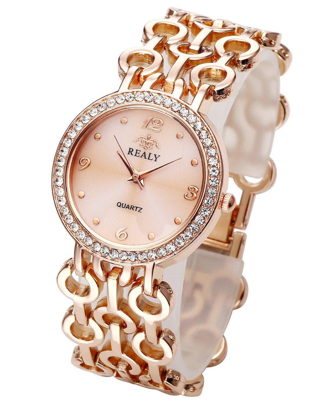 Top Plaza Women Elegant Fashion Bracelet Analog Quartz Watch Rose Gold Tone Rhinestone Case Big Face Large Dial Wide Band Waterproof Cuff Watch by Top Plaza (Image #1)