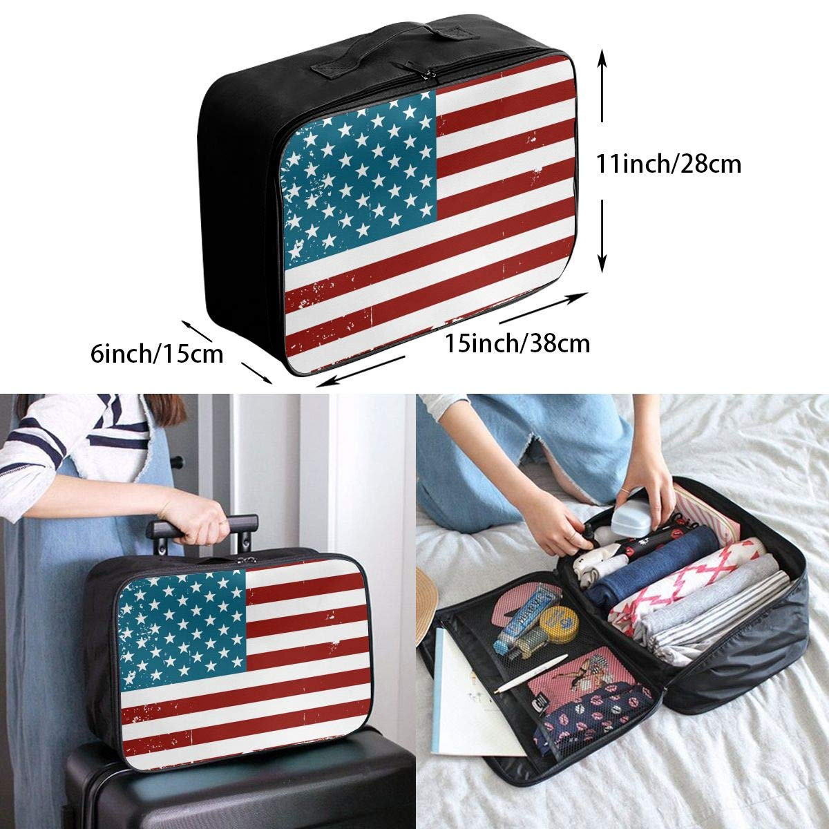 YueLJB American Flag Distressed Lightweight Large Capacity Portable Luggage Bag Travel Duffel Bag Storage Carry Luggage Duffle Tote Bag