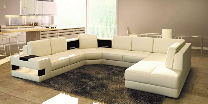 Strange Amazon Com My Aashis Modern Beige Leather Sectional Sofa Caraccident5 Cool Chair Designs And Ideas Caraccident5Info