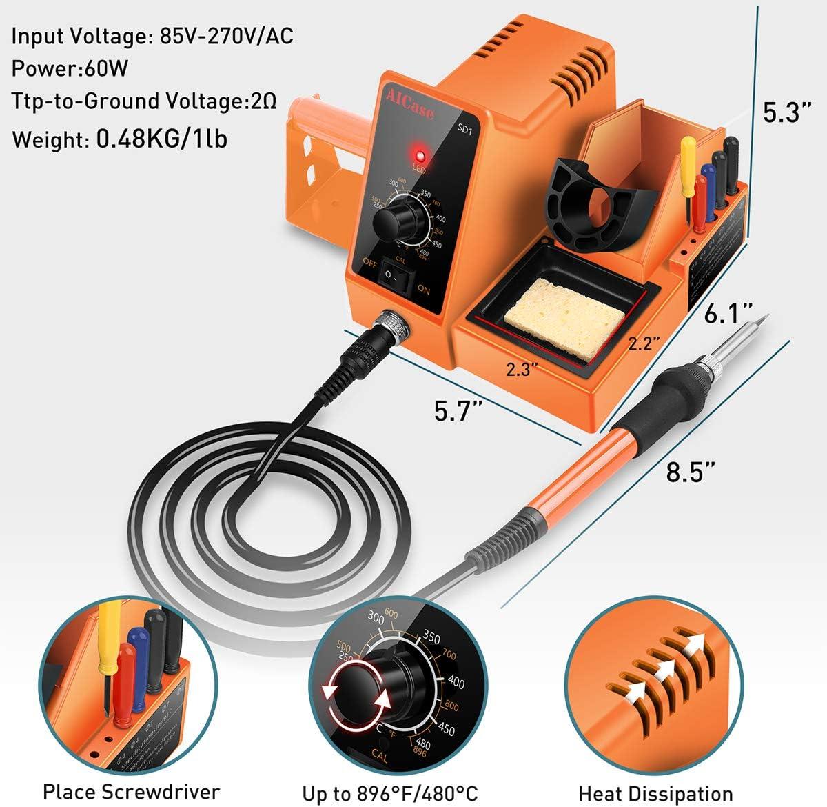 AICase Soldering Iron Station, 60-Watt, 110 Volt, 392°F-896°F (C/F) Temperature Adjustable, 6 Seconds Rapid Heating Anti-Static Solder Iron Station Kit with Solder Roll Holder/Screwdriver Holder