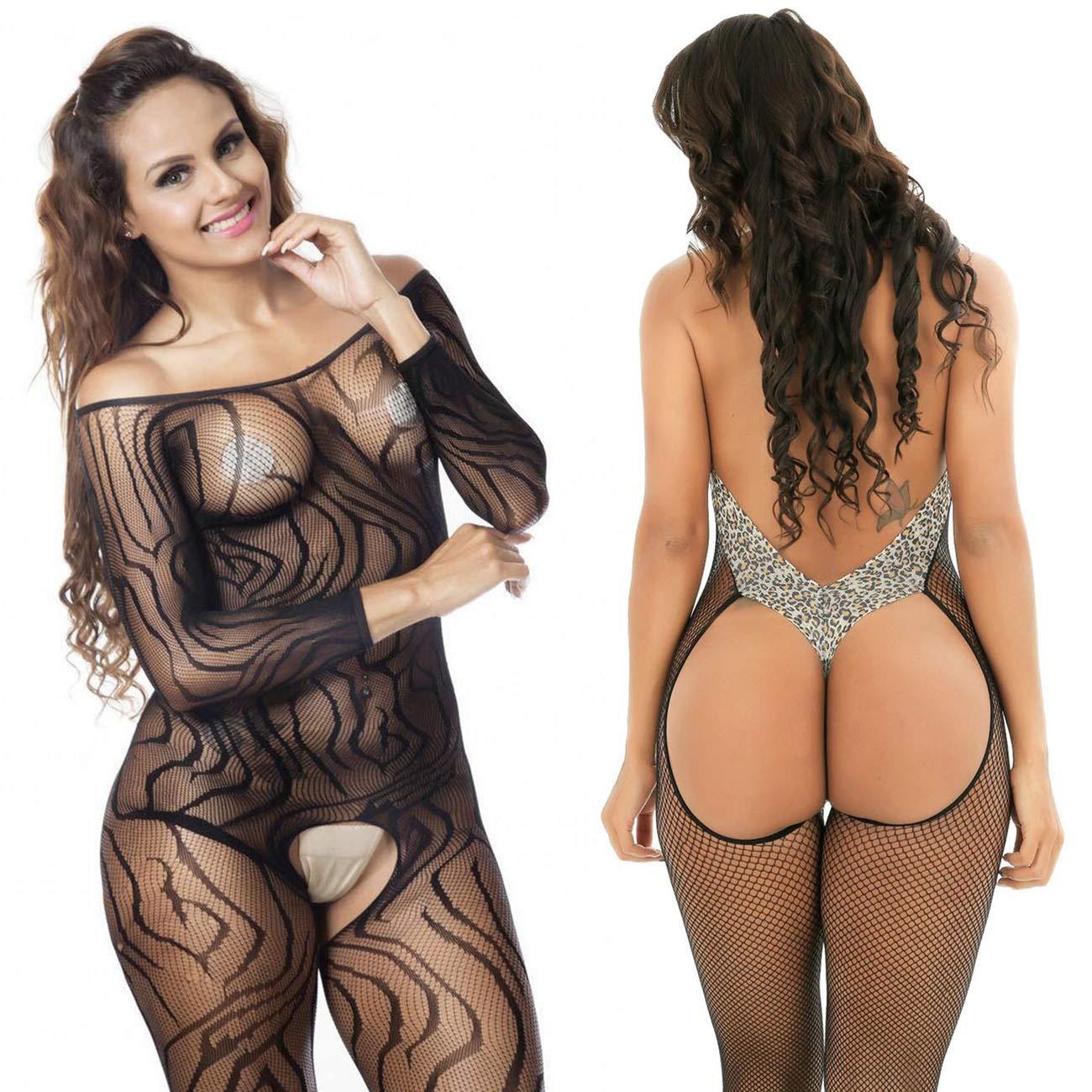 LOVELYBOBO 2-Pack Donna Cavallo Aperto Maglia Pesce Netto Calza Corpo Body Lingerie Camicia da Notte Vestito da Notte Taglia Grossa Nero