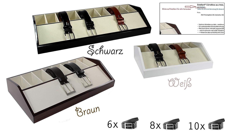 Estellani/® G/ürtelbox aus Holz Farbe Braun 6 F/ächer G/ürtelaufbewahrung