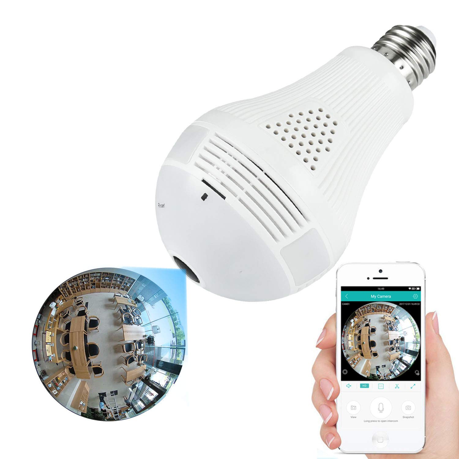 360 Light Bulb Camera WiFi Indoor Camera Home Security Camera System Nanny Camera for Kids Pet by movision