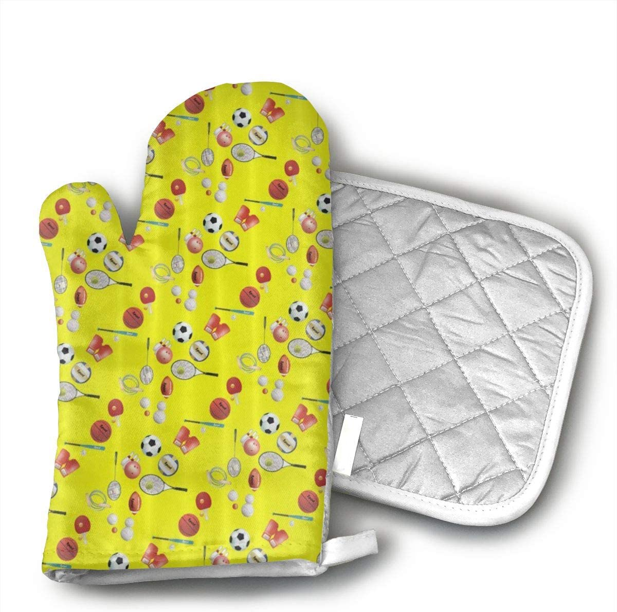 Party of Ball Baseball Tennis Soccer Bowling Oven Mitts and Potholders Heat Resistant Set of 2 Kitchen Set Non-Slip Grip Oven Gloves BBQ Cooking Baking Grilling