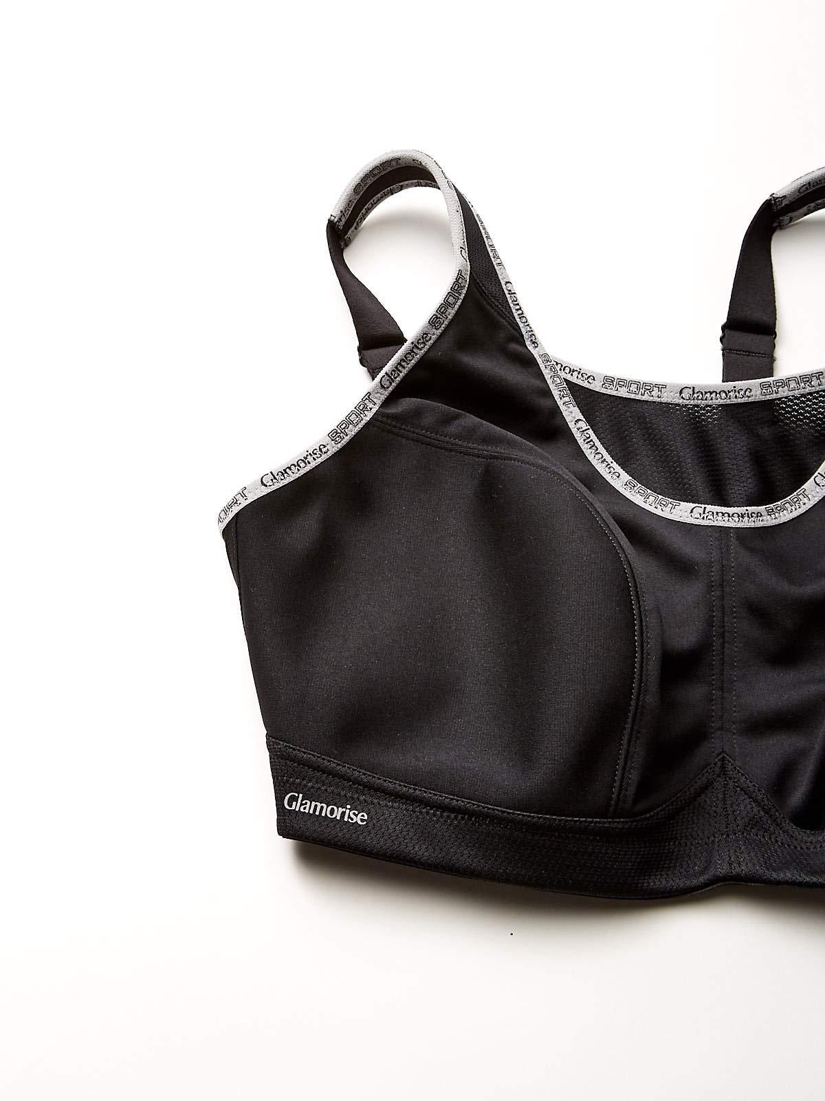 Glamorise Women's Plus-size Full Figure No-Bounce Camisole Wirefree Sports Bra #1066 Bra , BLACK PRINT 34I by Glamorise