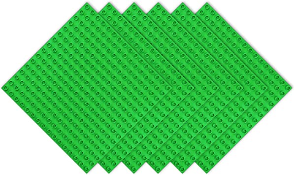 BOROLA Classic 10 x 10 Base Block Plate Compatible with All Major Brands Duplo-Style Bricks Green Only with Bigger Size Blocks 2Pcs