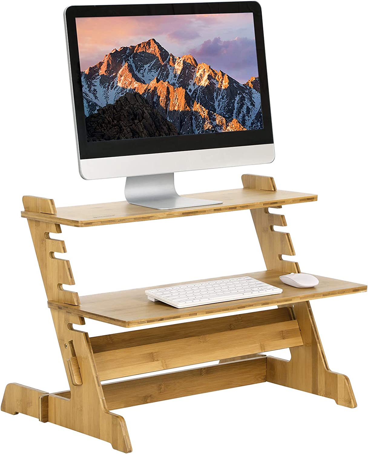 SONGMICS Bamboo Standing Desk, Height adjustable Stand Riser, Sit-stand Workstation Converter, Portable for Monitor, Laptop LLD97N