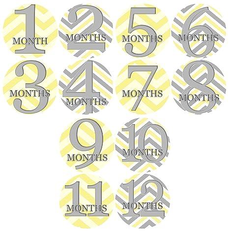 Buy Chevron Mix Grey Yellow Baby Month Onesie Stickers Baby Shower