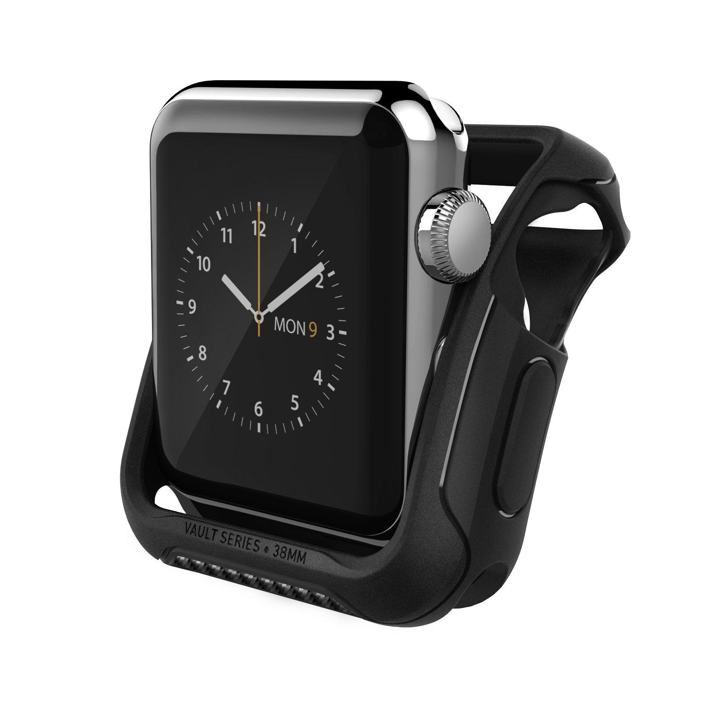 Apple Watch Series 3/2 Case 38mm, Caseology [Vault Series] Rugged Protective Slim Shock Resistant TPU Bumper for Apple Watch Series 3 (2017) 38mm/2 38mm (2016) - Matte Black