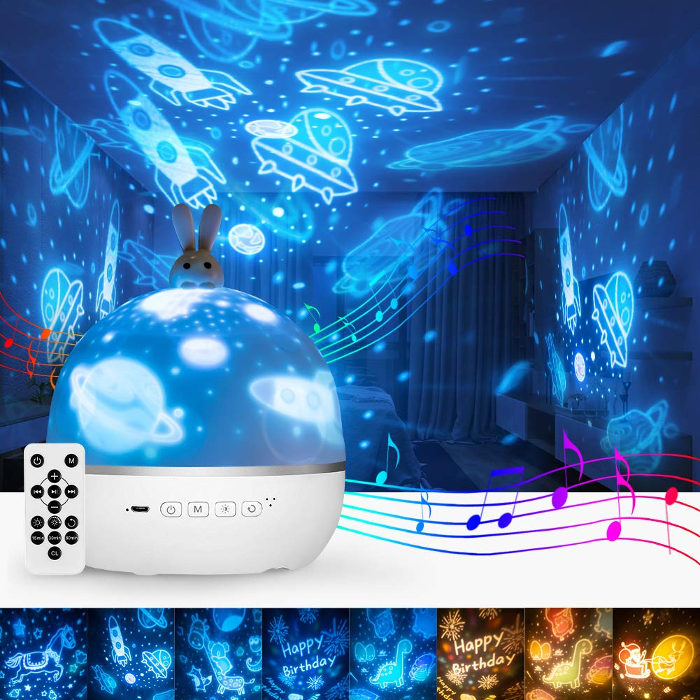 Bunny Night Light for Kids, Star Projector with Sound Machine, Baby Girl and Boy Gifts, Easter Toys for 2-10 Year Old Children, 3 in 1 Lamp , Sensory Galaxy Light wih Remote Control, Cute Sleep Helper