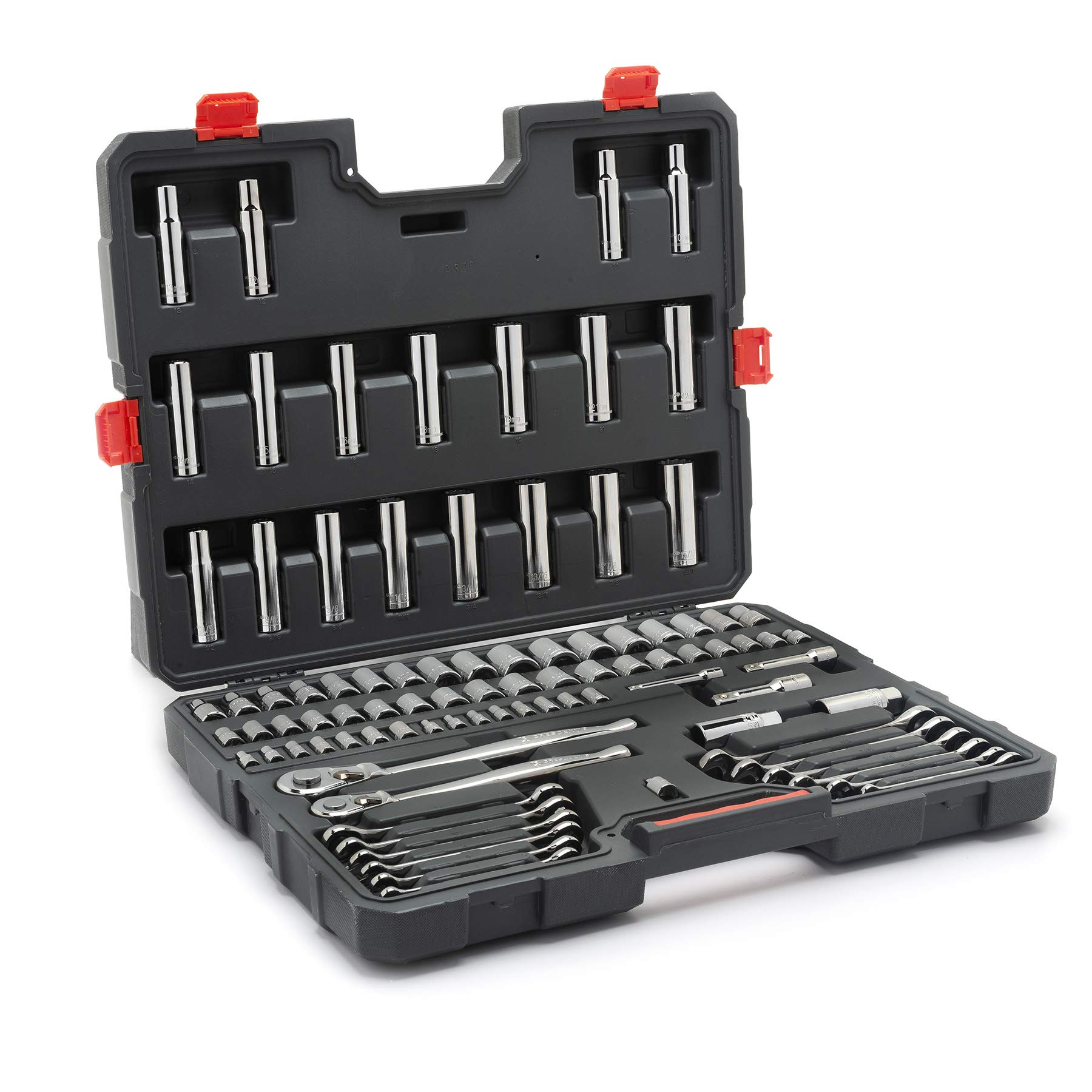 Crescent 90 Piece Mechanics Tool Set with Ratcheting Wrenches, SAE & Metric -  CTK90 by Crescent