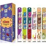 Série Fleur haut de gamme Aroma Sticks - Sentez-vous le Blossomy Aroma - 120 bâtons d'encens - Utiliser au Home Office - Paquet de 6 bâtons de parfum naturel - longue durée Bâtons d'encens parfumés