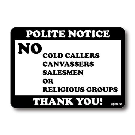 No cold callers calling door window self adhesive sticker 70 x 100mm