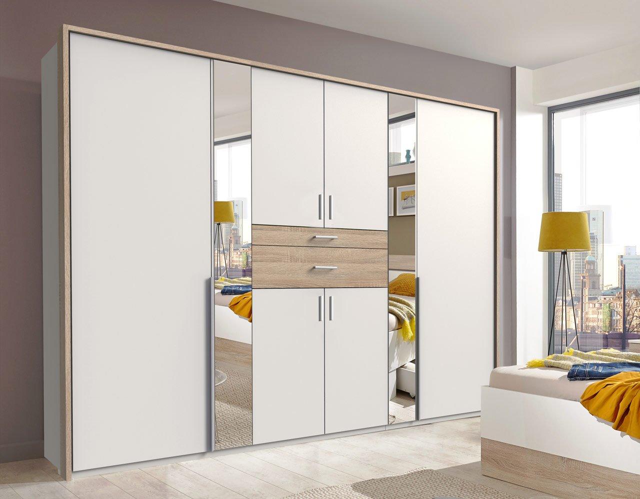 lifestyle4living Kleiderschrank 6-türig in weiß/Eiche-Dekor mit Schubladen   Drehtührenschrank mit Spiegeln und vielen Fächern ca. 270 cm