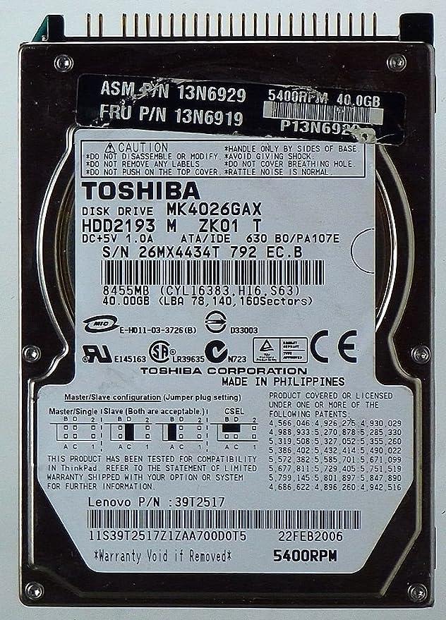 Toshiba MK4026GAX HDD2193 IDE ID12345 - Disco duro HDD para notebook (40 GB): Amazon.es: Electrónica