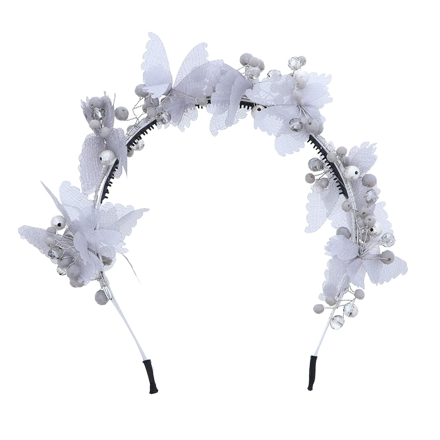 Wedding Party Butterflies Headband in Silver Colour With Rhinestones