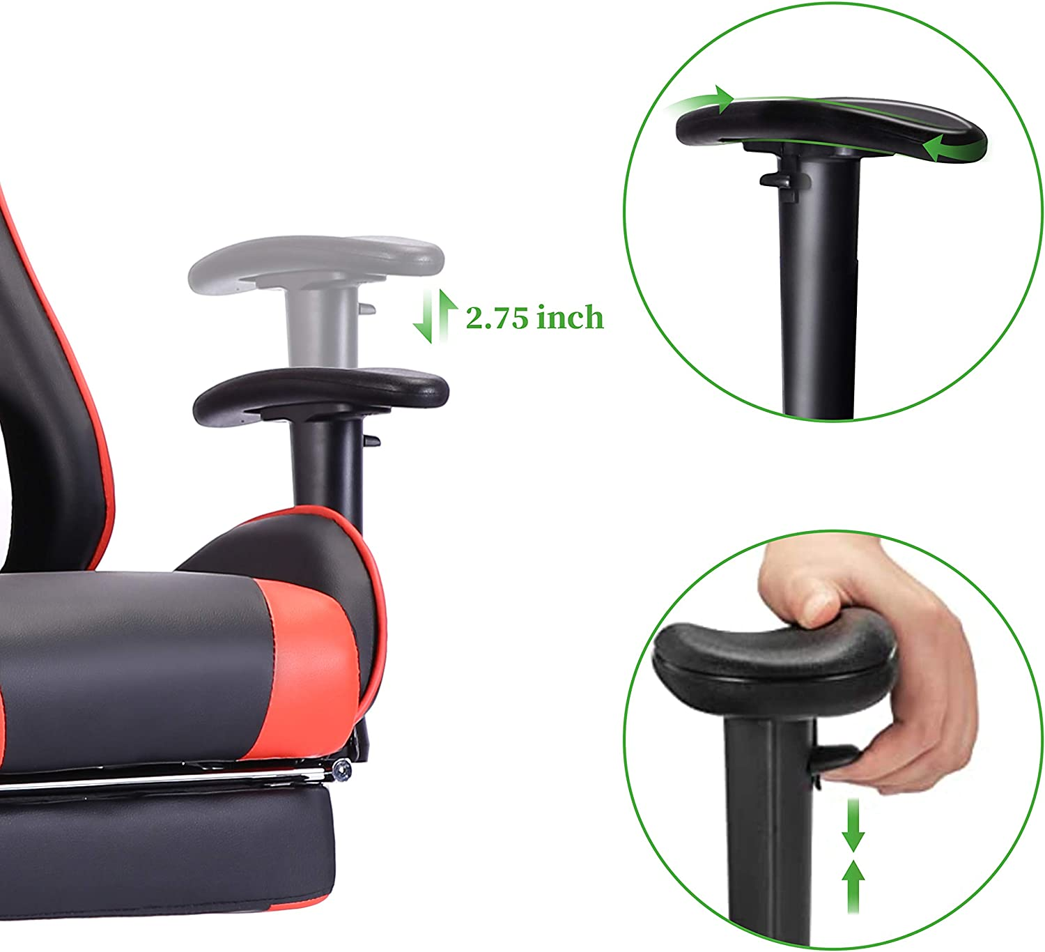 EDWELL Gaming Chair,Office Chair with Footrest,High Back Computer Chair,Adjustable Desk Chair with Headrest and Lumbar Support,PU Leather Executive Chair for Adults Women Men,Ergonomic Design