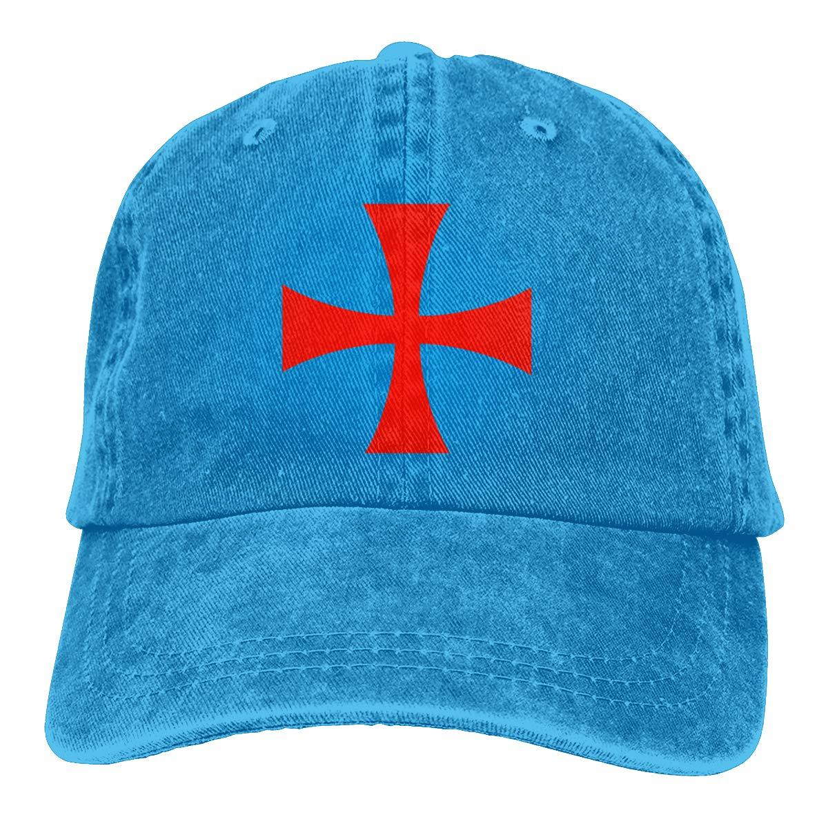 Sajfirlug Templar Knight Symbol Fashion Adjustable Cowboy Cap Denim Hat for Women and Men