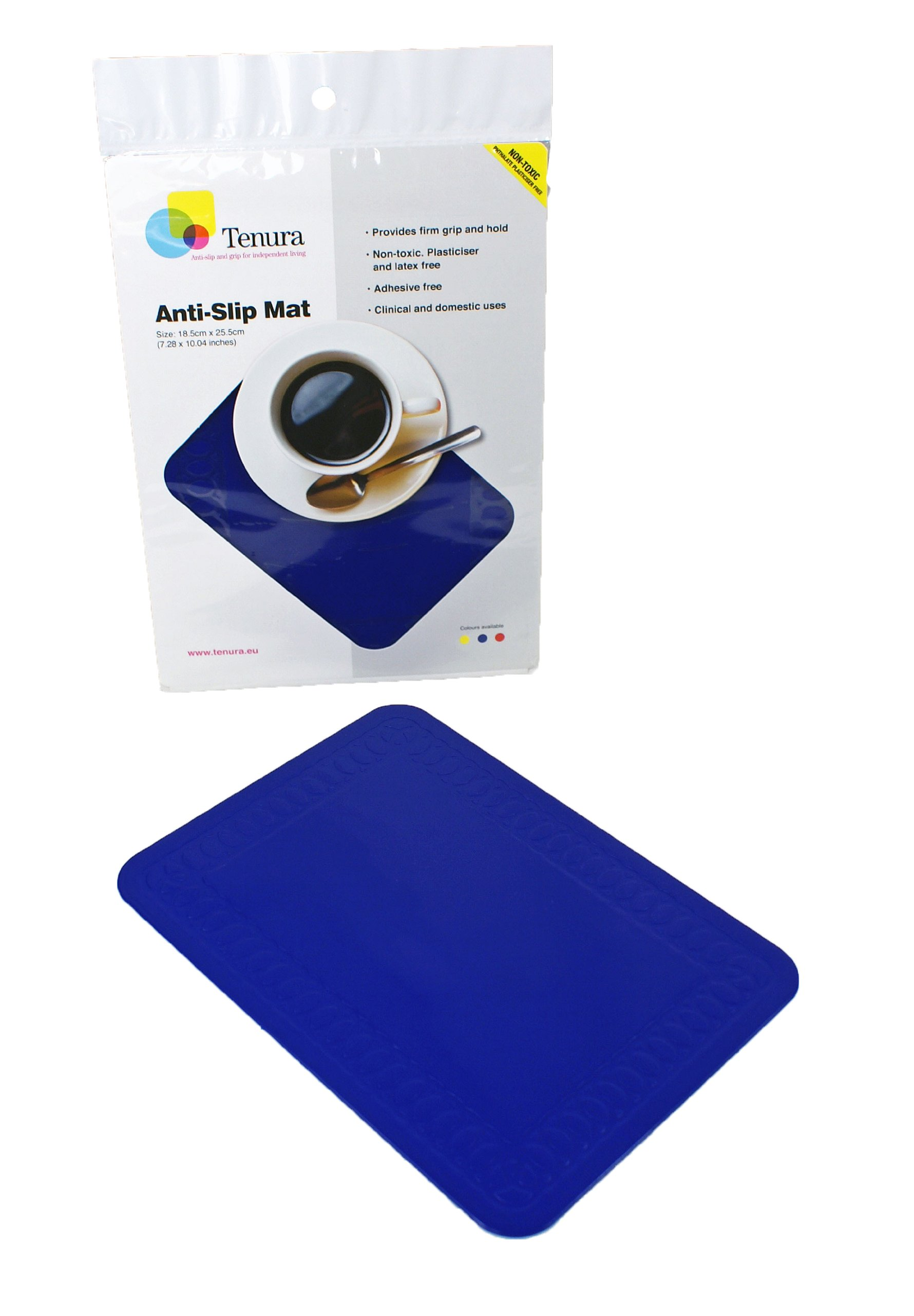 Tenura 75373-2502 Blue Silicone Non-Slip Table Mat, 10'' Length x 7'' Width