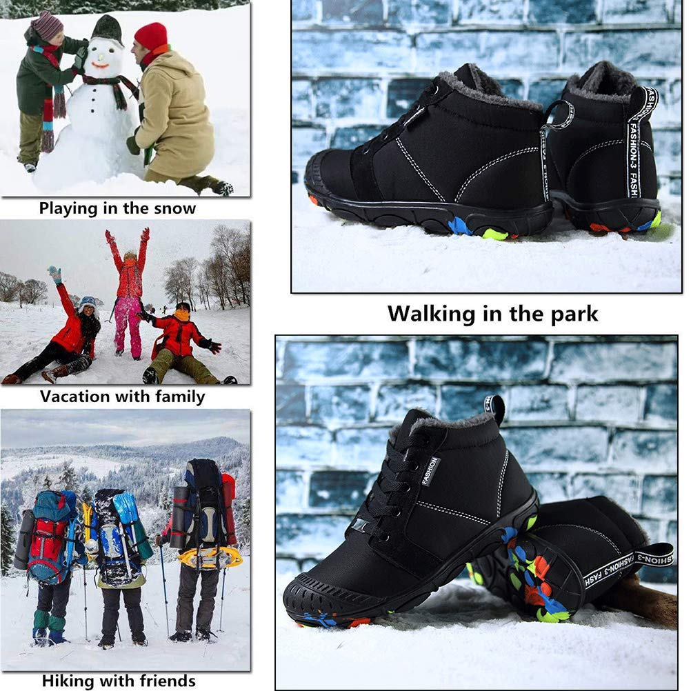 CCZZ Kids Winter Snow Boots Fur Lined Warm Booties Outdoor Waterproof Boots