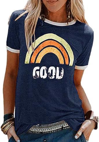 Voqeen Camiseta con Estampado de Arcoiris para Mujer, Manga Corta, Cuello Redondo, algodón, Camiseta Holgada, Camisetas básicas para Verano al Aire Libre: Amazon.es: Ropa y accesorios