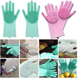 Venganza Magic Silicone Scrubbing Gloves, Scrub Cleaning Gloves with Scrubber for Dish-Washing and Pet Grooming, Latex Free (Multi Color, 1 Pair)
