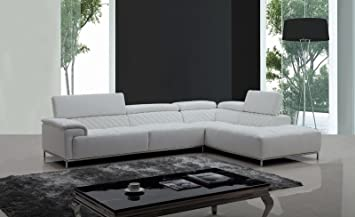 VIG Furniture Divani Casa Citadel Modern White Eco Leather Sectional Sofa  W/ Audio System