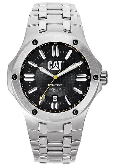 CAT A1.141.11.124 - Reloj analógico para hombre, correa de acero inoxidable color plateado: Amazon.es: Relojes