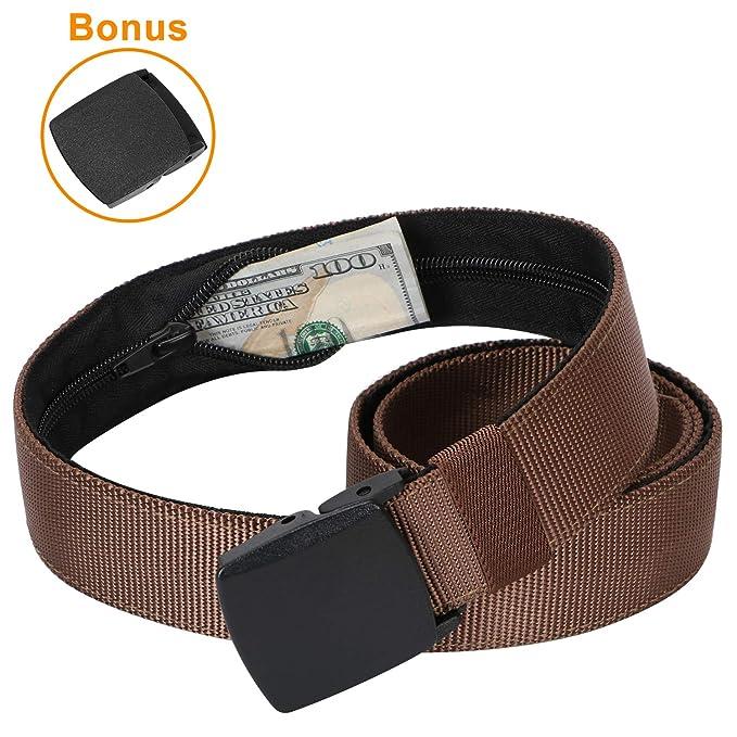 07559bb15 Viaje de dinero seguridad cinturón de cintura Unisex cierre oculta Jeans  cinturón de nylon YKK hebilla