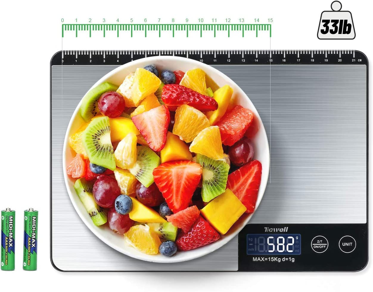 TICWELL Essential Food Scale 33lb Digital Kitchen Scale Weight Grams Oz for Cooking Baking Multifunction Food Scale, 1g Precise Graduation 6 Units LCD Display