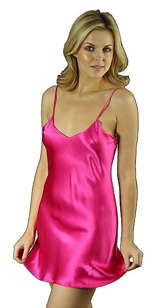 SilkCocoon las mujeres vestido Chemise - seda - B08 caliente rosa medio