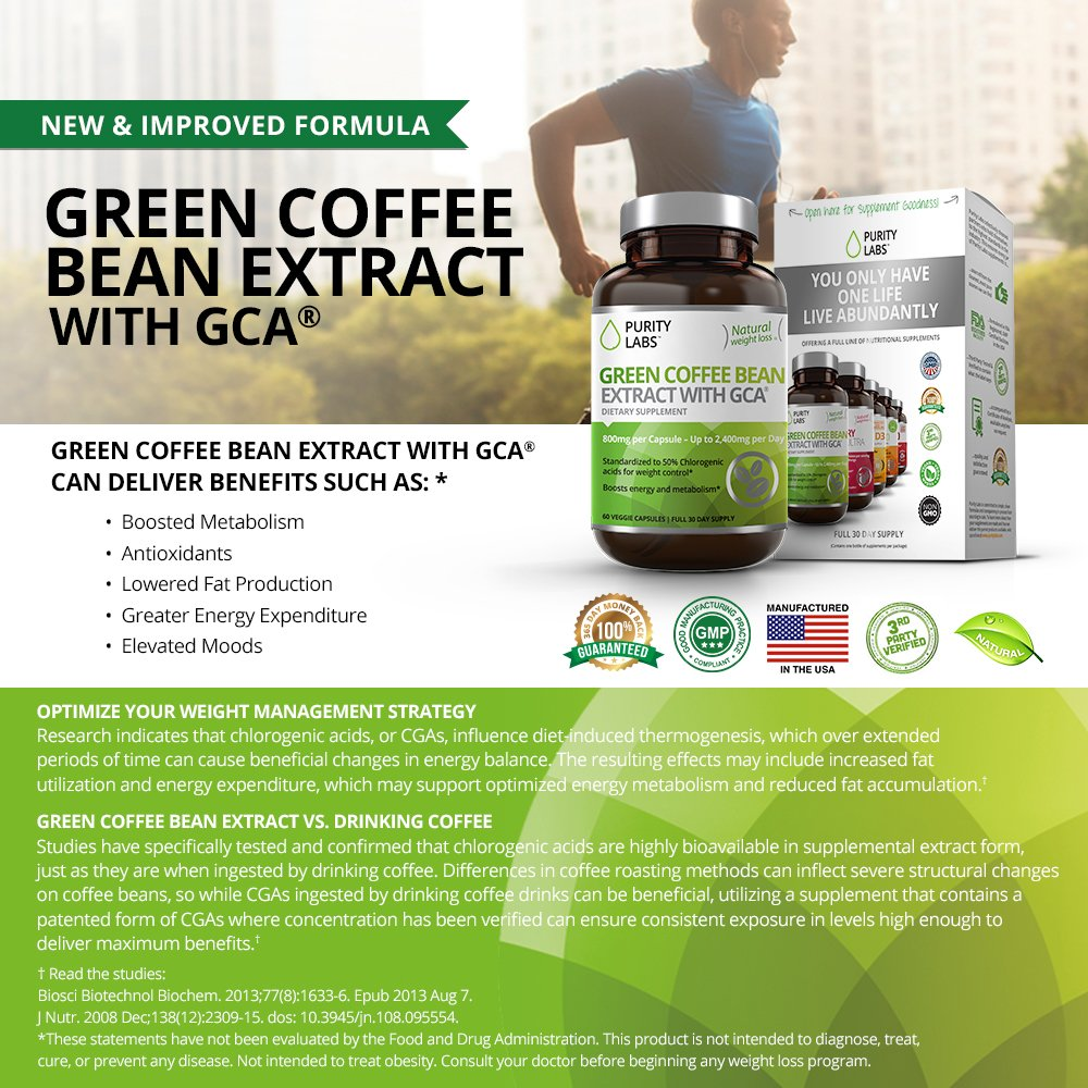 Abundant Health Green Coffee Bean Extract With Gca For 1000 Weight Control 120 Veggie Capsules Personal Care