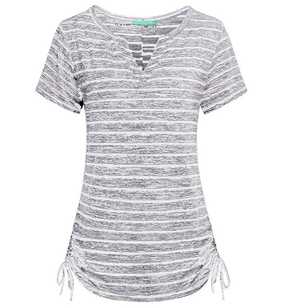 Vska Womens Casual Slim Striped Tops Tunic Short Sleeve Drawstring Blouse