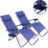 Polar Aurora 2 pack Blue Color Zero Gravity Chairs Recliner Lounge Patio Chairs Folding Cup Holder