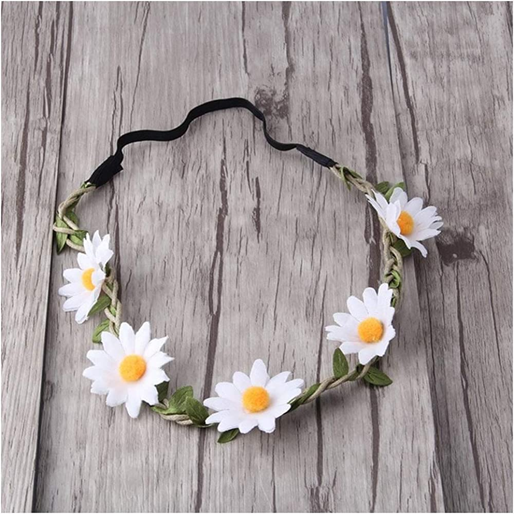 60s -70s  Men's Costumes : Hippie, Disco, Beatles Art Attack White Daisy Dasies Sun Flower Crown Boho Floral Bohemian Leaf Braided Stretch Fashion Festival Hair Headband Head Wrap $6.97 AT vintagedancer.com