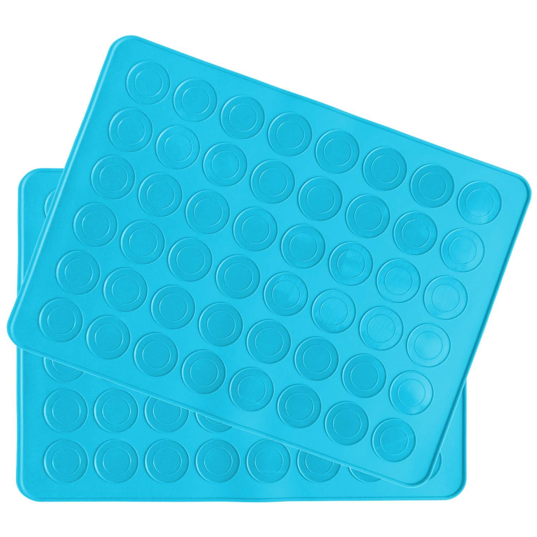 Belmalia Stampo in silicone Macarons per 48 perfetti macaron 96 stampi singoli con rivestimento antiaderente 38x28cm Blu BM-1002blx2
