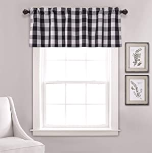 Annlaite Buffalo Checker Farmhouse Thermal Insulated Energy Saving Window Curtain Valance for Living Room/Bedroom/Kitchen Rod Pocket Valance 52 by 18 Inch Black