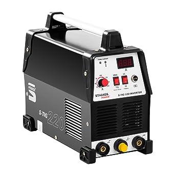 Stamos Power - S-TIG 220 - Equipo de soldadura TIG - Corriente de soldadura de 220 Amperios - Función ...