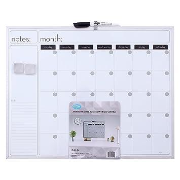 MJM calendario mensual pizarra blanca magnética con ...