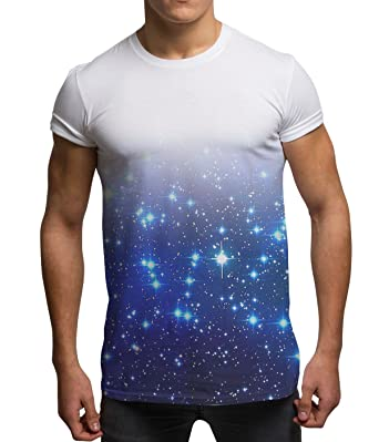 Men's All Over Print Blue Galaxy Cosmic Stars Sublimation Holiday Festival T  ..