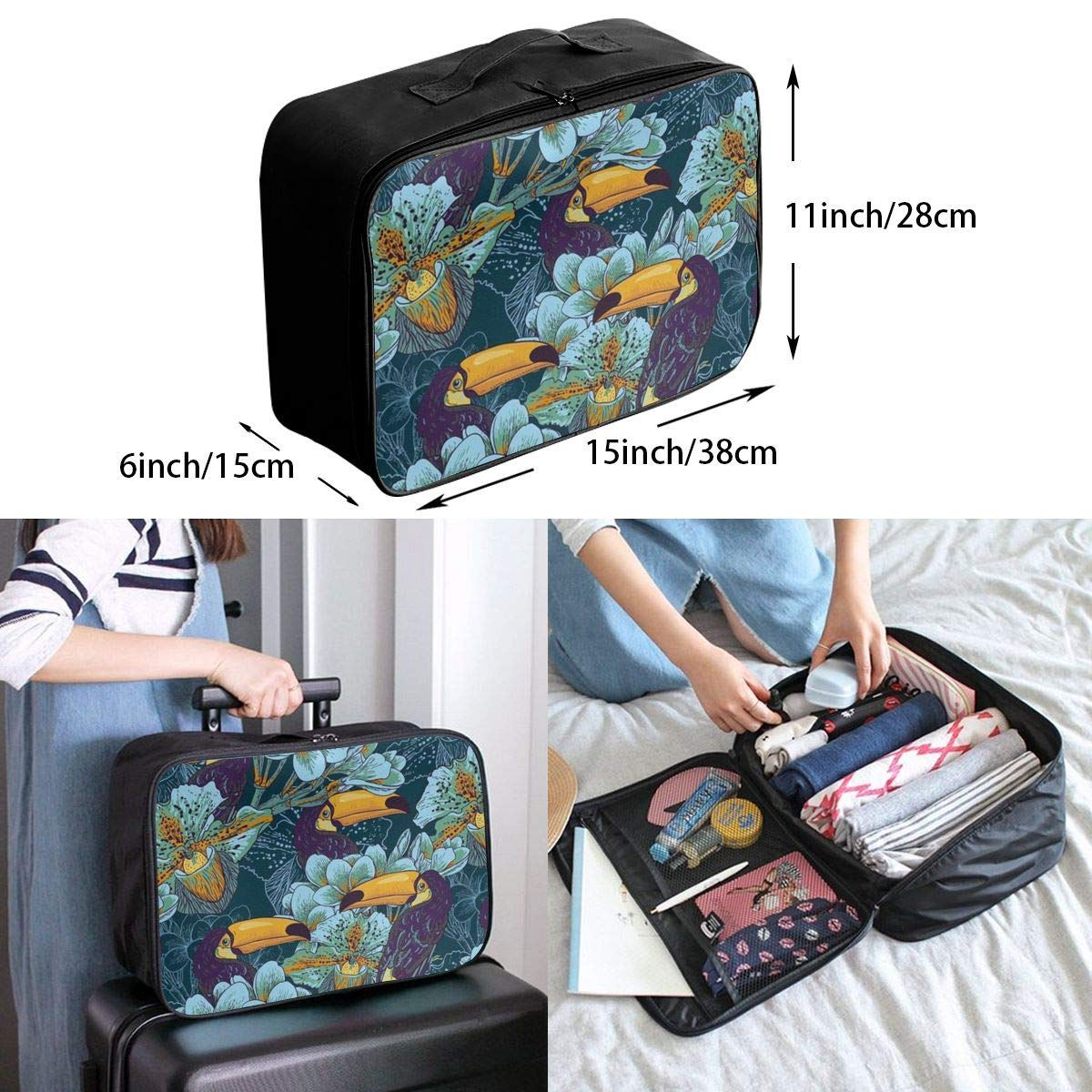 Lightweight Large Capacity Duffel Portable Luggage Bag Hornbill Toucan Bird Travel Waterproof Foldable Storage Carry Tote Bag